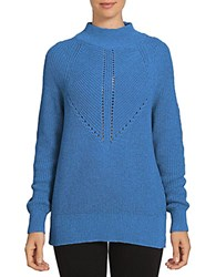 1.State Long Sleeve Mock Neck Cotton Blend Sweater Blue