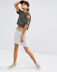Daisy Street Jersey Bodycon Skirt With Stripe Band Detail Gray Marl