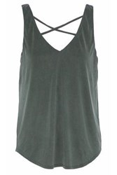 Tart Collections Celestia Cutout Brushed Jersey Tank Dark Green