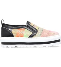 Msgm Stripe Print Leather Platform Trainers Mult Other