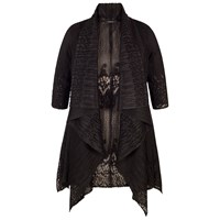 Chesca Border Lace Crush Pleat Waterfall Shrug Black