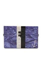 Edie Parker Small Trunk Anchor Purse Blue Violet