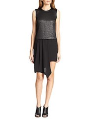 Bcbgmaxazria Juliane Faux Leather Top Draped Chiffon Dress Black