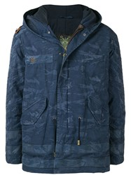 Mr And Mrs Italy Camouflage Hooded Parka Blue