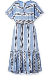 Lemlem Kesiti Belted Cotton Blend Gauze Midi Dress Blue