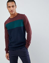 Tom Tailor Sweatshirt In Cut And Sew Colour Block Navy
