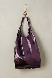 Anthropologie Reversible Pleated Leather Tote Purple