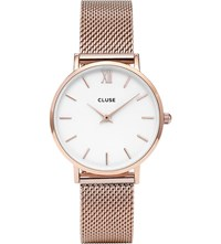 Cluse Cl30013 Minuit Stainless Steel Rose Gold Mesh Watch White