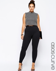 Asos Curve Exclusive High Waist Skinny Trouser In Texture Black