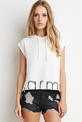 Forever 21 Karma Graphic Boxy Hoodie Cream Black