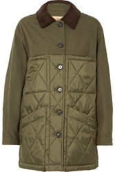 Burberry Corduroy Trimmed Canvas And Quilted Shell Jacket Army Green Gbp