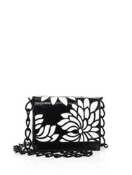 Nancy Gonzalez Gio Laser Cut Crocodile Crossbody Bag Black White