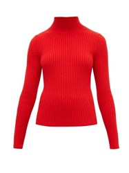 Balenciaga High Neck Ribbed Knit Sweater Red