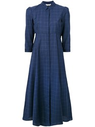 Xacus Fit And Flare Checked Shirt Dress Virgin Wool Blue