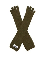 Ganni Rib Knit Wool Blend Gloves Green