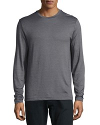Armani Collezioni Micro Diamond Long Sleeve T Shirt Gray