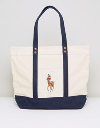 Polo Ralph Lauren Canvas Tote Bag In Natural Natural Navy White
