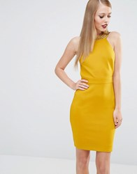 Tfnc High Neck Bodycon Mini Dress With Gold Embellishment Yellow Gold