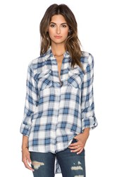 Sam Edelman Riley Plaid Zipper Split Back Blouse Blue