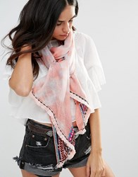 Liquorish Lightweight Printed Scarf Coral Orange