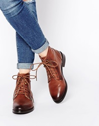 Park Lane Worker Lace Up Leather Ankle Boots Tan