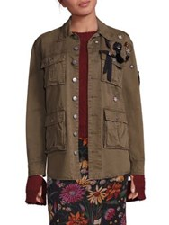 Cinq A Sept Embroidered Long Sleeve Cotton Jacket Olive