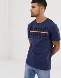 Only And Sons Logo T Shirt In Navy