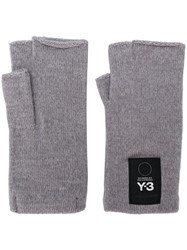 Y 3 Fingerless Gloves Grey