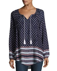 Philosophy Long Sleeve Tasseled Tunic Blue Pattern
