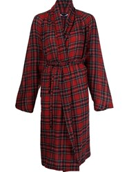 Rosetta Getty Tartan Pattern Cardi Coat Red