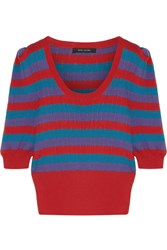 Marc Jacobs Striped Cotton Sweater Red