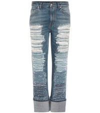 Alexander Mcqueen Distressed Cropped Jeans Blue