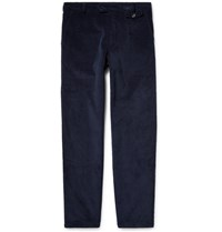 Oliver Spencer Slim Fit Cotton And Wool Blend Corduroy Trousers Navy