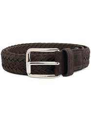 Tod's Woven Belt Suede Brown