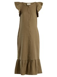 Cecilie Copenhagen Jehro Scarf Jacquard Cotton Dress Khaki