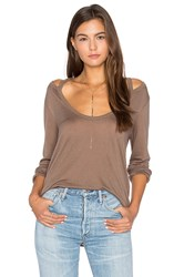 Project Social T Wild Night Flax Cold Shoulder Tee Brown