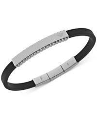 Emporio Armani Men's Stainless Steel And Black Rubber Bracelet Egs2076