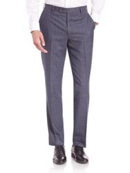 Saks Fifth Avenue Houndstooth Wool Trousers Blue