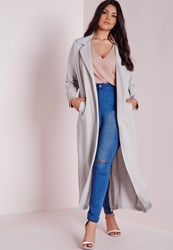 Missguided Plus Size Long Sleeve Duster Coat Grey Grey