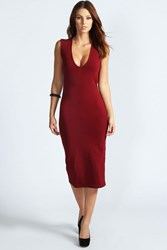 Boohoo Plunge Neck Bodycon Midi Dress Berry