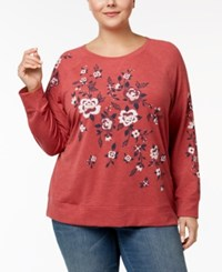 Style And Co Plus Size Embroidered Sweatshirt Created For Macy's Floral Bloom