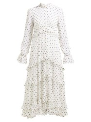 Zimmermann Zippy Polka Dot Tiered Midi Dress White Black