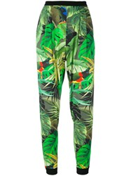 Max Mara Tropical Print Cropped Trousers Women Polyester Spandex Elastane Triacetate Viscose 46 Green
