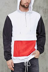 Forever 21 Hooded Colorblock Anorak White Red