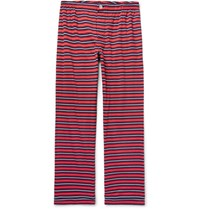 Sleepy Jones Marcel Triped Cotton Jerey Pyjama Trouer Red