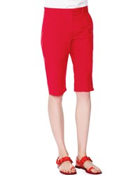 Tomas Maier Slim Fit Walking Shorts Fire Red Women's