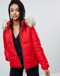 Pimkie Faux Fur Collar Padded Jacket Red