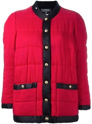 Chanel Vintage Contrast Puffer Jacket Red