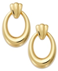 Signature Gold Oval Hoop Earrings In 14K Gold Yellow Gold