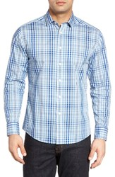 Vince Camuto Men's Trim Fit Plaid Sport Shirt Blue Teal Plaid